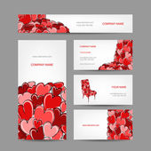Set of valentine cards for your design — Wektor stockowy