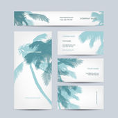 Set of business cards design, palm tree — Vettoriale Stock