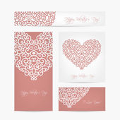 Set of valentine cards for your design — Stok Vektör