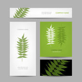 Business cards collection, green leaf design — Stok Vektör