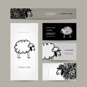 Set of business cards design, sheep sketch — Stock Vector