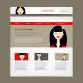 Website design template with asian woman — Stock Vector