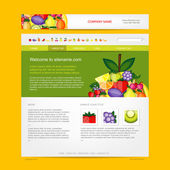 Website design template, fruits style — Stock Vector