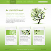 Website design template with green tree — Stock Vector