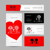 Couple kissing, valentine cards for your design — Stok Vektör