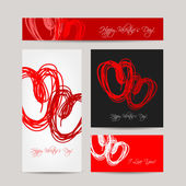 Set of valentine cards for your design — Stock Vector