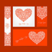 Set of valentine cards for your design — Cтоковый вектор