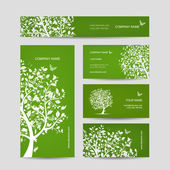 Business cards design, spring tree with birds — Stockvector