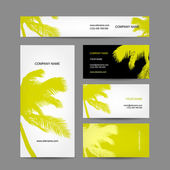 Set of business cards design, palm tree — Vecteur