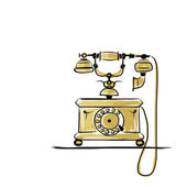 Retro telephone, sketch for your design — Stock Vector