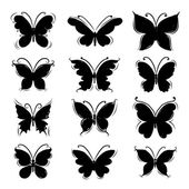 Set of butterfly silhouettes for your design — Stock Vector