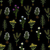 Herbarium flowers with roots, seamless pattern — Vector de stock