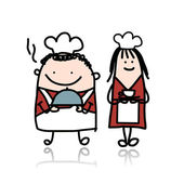 Chief cook with assistant girl, cartoon for your design — Vector de stock