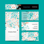 Business cards design, floral style — Vettoriale Stock