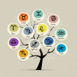Art tree with zodiac signs for your design — Stock Vector #51224151