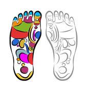 Foot massage reflexology, sketch for your design — Vector de stock