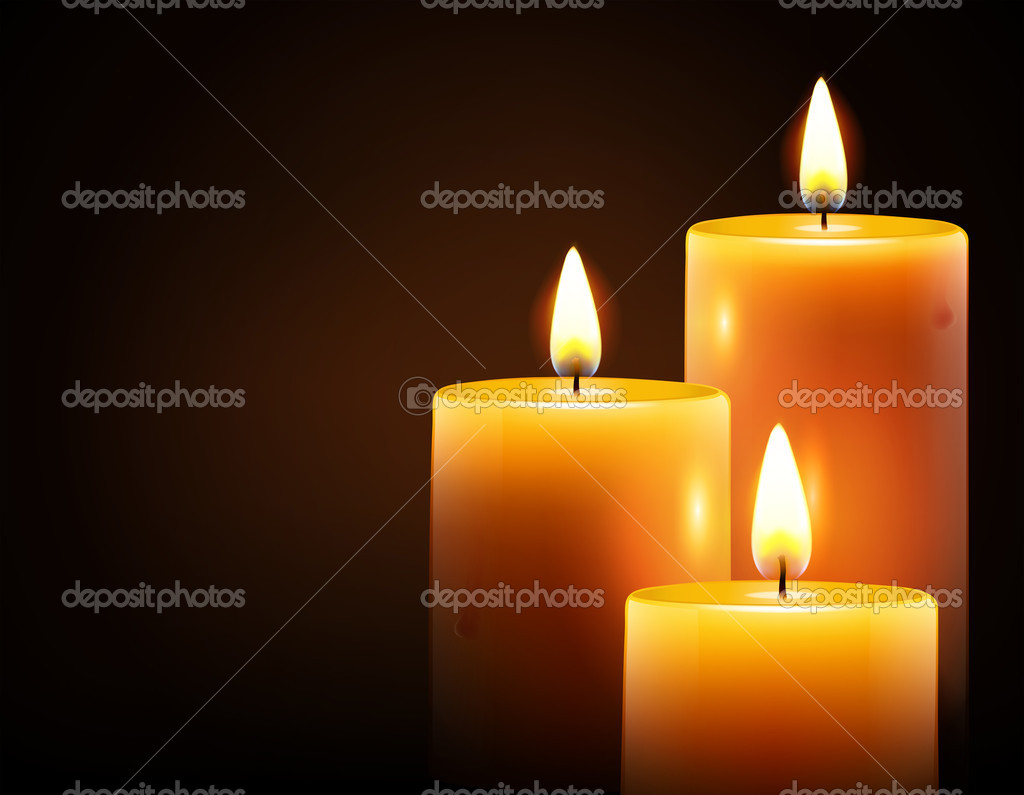 Illustration of three yellow candles on dark background  Stock Photo #14250723
