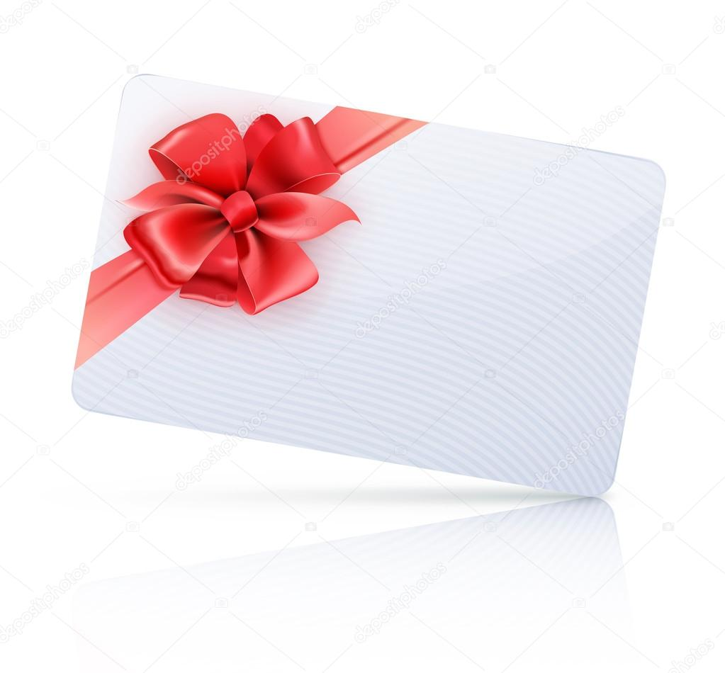 Vector illustration of decorated gift card with red ribbons and bow  Stock Vector #14790273