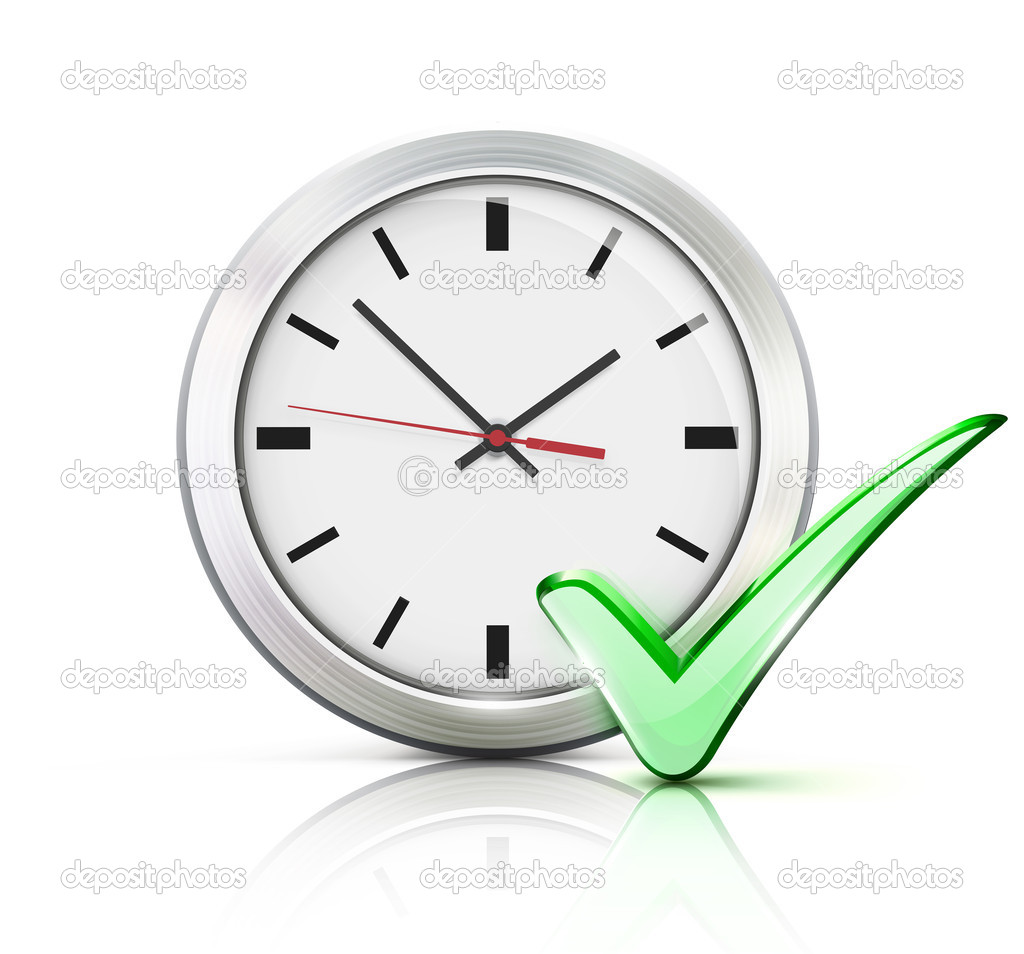 Illustration of timing concept with classic office clock and check mark icon isolated on white background — Stock Photo #17887725