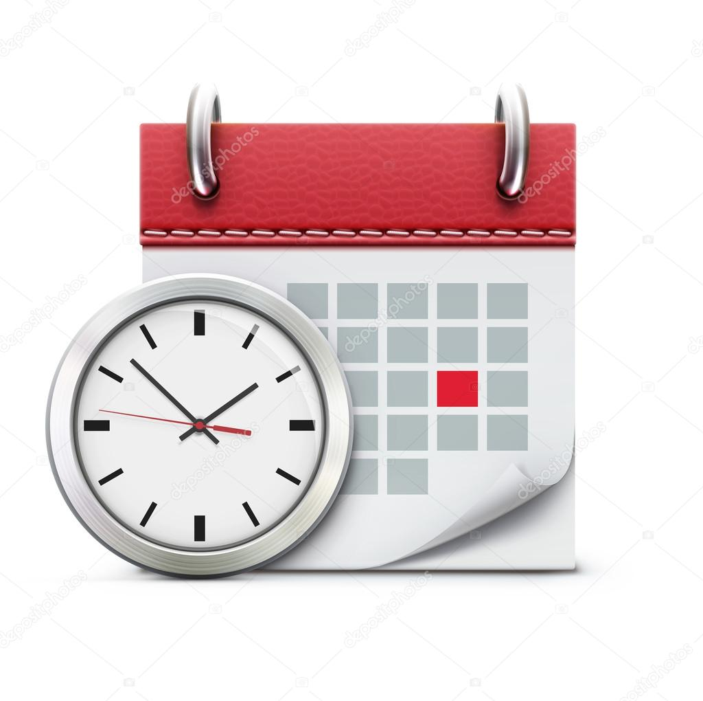 Vector illustration of timing concept with classic office clock and detailed calendar icon  Stockvectorbeeld #19482725