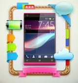 Glossy modern cellphone — Stock Photo