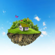 A piece of land in the air with house and tree. — Foto Stock #12436254