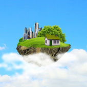 A piece of land in the air with house and tree. — Stock fotografie