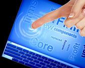 Palec dotykając ekranu komputera niebieski — Zdjęcie stockowe