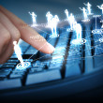 Computer keyboard and social media images — Stock Photo #12482346