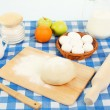 Different products to make bread on the table — Stock Photo