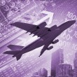 Stock Photo: Plane against business background