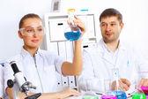 Equipe de cientistas trabalhando no laboratório — Foto Stock
