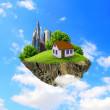 ein Stück Land in der Luft mit Haus und Baum — Stockfoto