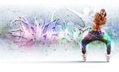 Junger mann tanzen hip-hop mit farbige linien — Stockfoto