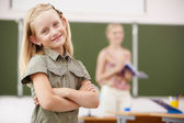 Little girl at school class — Stock Photo
