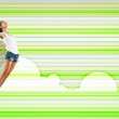 Young woman dancing and jumping... — Stock Photo #13350430