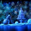 Blue Christmas collage — Stock Photo