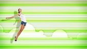 Young woman dancing and jumping... — Stock Photo