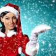 Portrait of girl wearing santa claus clothes — Lizenzfreies Foto
