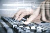 Bilgisayar klavye ve sosyal medya görüntüleri — Stok fotoğraf