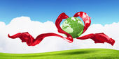 Earth Heart Icon — Stock Photo