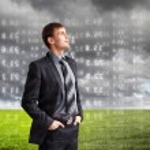 Businessman agaisnt virtual background — Stock Photo