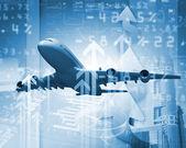 Uçak iş arka — Stok fotoğraf