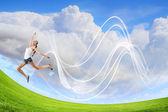 Modern style dancer against blue sky — Stockfoto