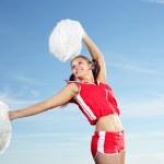 Young female cheerleader — Stock Photo
