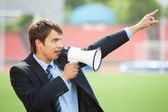 Business Announcement Through Loudspeaker 2 — Stock Photo