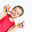 Stock Photo: Happy child with paint on hands
