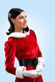 圣诞老人的漂亮女孩 — 图库照片
