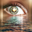 Eye overlooking water scenic - Stock Photo