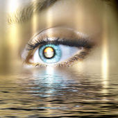 öga med utsikt över vatten natursköna — Stockfoto